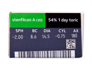 MyDay daily disposable toric (30 db lencse) - Paraméterek előnézete