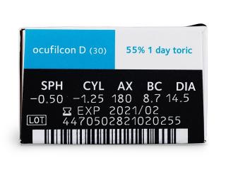 Biomedics 1 Day Extra Toric (30db lencse) - Paraméterek előnézete