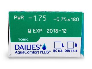 Dailies AquaComfort Plus Toric (30db lencse) - Paraméterek előnézete