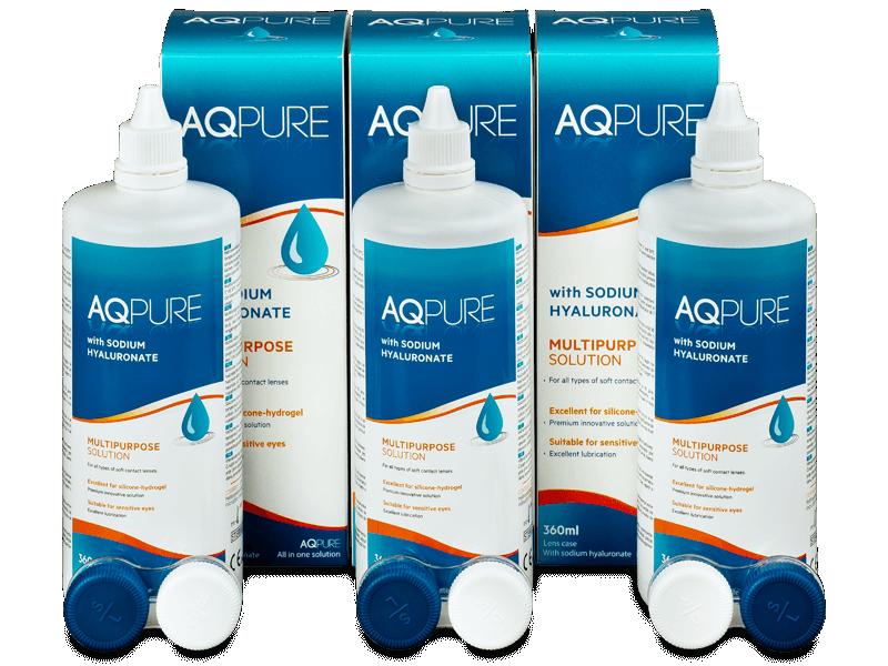 AQ Pure kontaktlencse folyadék 3 x 360ml  - Gazdaságos hármas kiszerelés - ápolószer