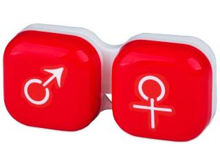 Lencse tartó - férfi&nő jelzéssel - piros