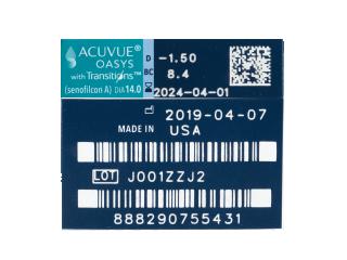 Acuvue Oasys with Transitions (6 db lencse) - Paraméterek előnézete