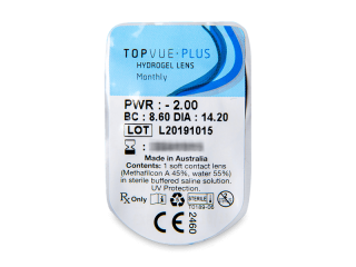 TopVue Monthly Plus (6db lencse) - Buborékcsomagolás előnézete