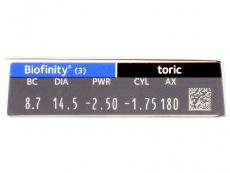 Biofinity Toric (3db lencse) - Paraméterek előnézete