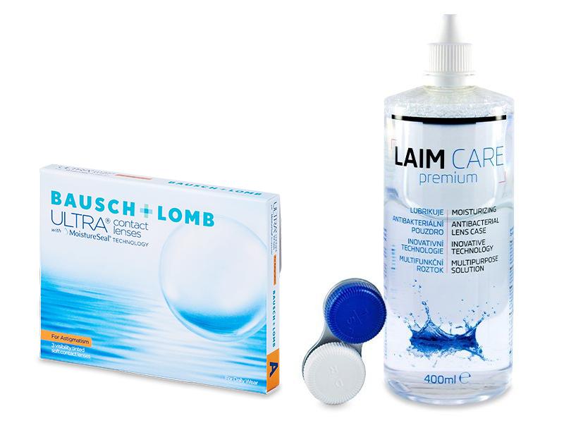 Bausch + Lomb ULTRA for Astigmatism (3 lencse) + 400 ml Laim-Care ápolószer - Kedvezményes csomag