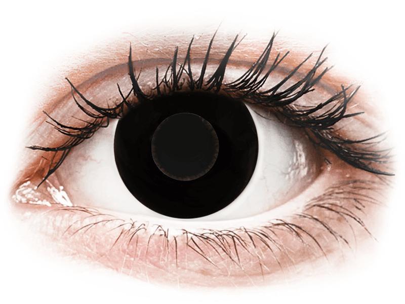 CRAZY LENS - Black Out - dioptriával napi lencsék (2 db lencse) - Coloured contact lenses