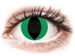 CRAZY LENS - Cat Eye Green - dioptria nélkül napi lencsék (2 db lencse) - Coloured contact lenses