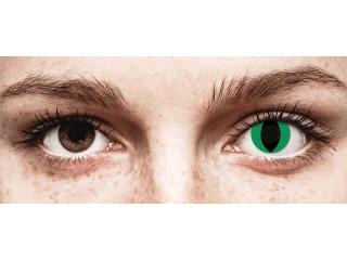 CRAZY LENS - Cat Eye Green - dioptria nélkül napi lencsék (2 db lencse)