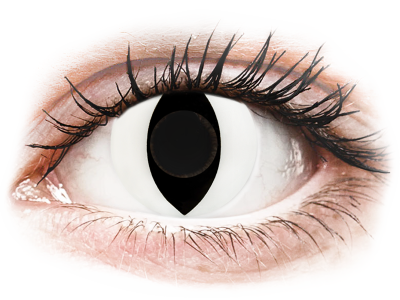 CRAZY LENS - Cat Eye White - dioptria nélkül napi lencsék (2 db lencse)