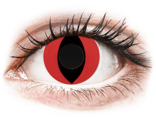 CRAZY LENS - Cat Eye Red - dioptria nélkül napi lencsék (2 db lencse) - Coloured contact lenses