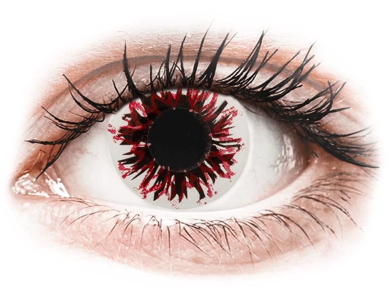 CRAZY LENS - Harlequin Black - dioptriával napi lencsék (2 db lencse) - Coloured contact lenses