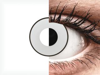 CRAZY LENS - White Black - dioptria nélkül napi lencsék (2 db lencse)