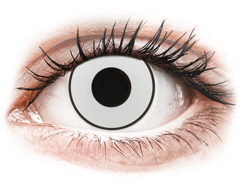CRAZY LENS - White Black - dioptria nélkül napi lencsék (2 db lencse) - Coloured contact lenses