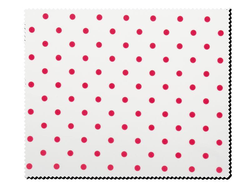 Tisztítókendő szemüveghez - piros pöttyös mintával