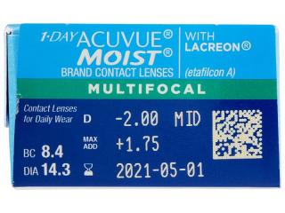 1 Day Acuvue Moist Multifocal (30 db lencse) - Paraméterek előnézete