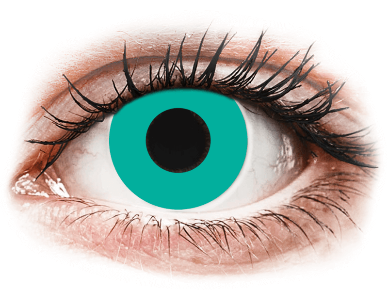 CRAZY LENS - Solid Turquoise - dioptria nélkül napi lencsék (2 db lencse) - Coloured contact lenses