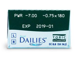 Focus Dailies Toric (30db lencse) - Paraméterek előnézete
