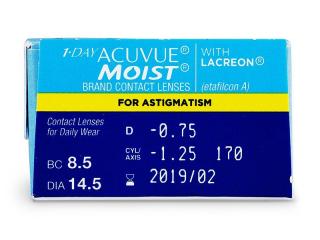 1 Day Acuvue Moist for Astigmatism (30db lencse) - Paraméterek előnézete